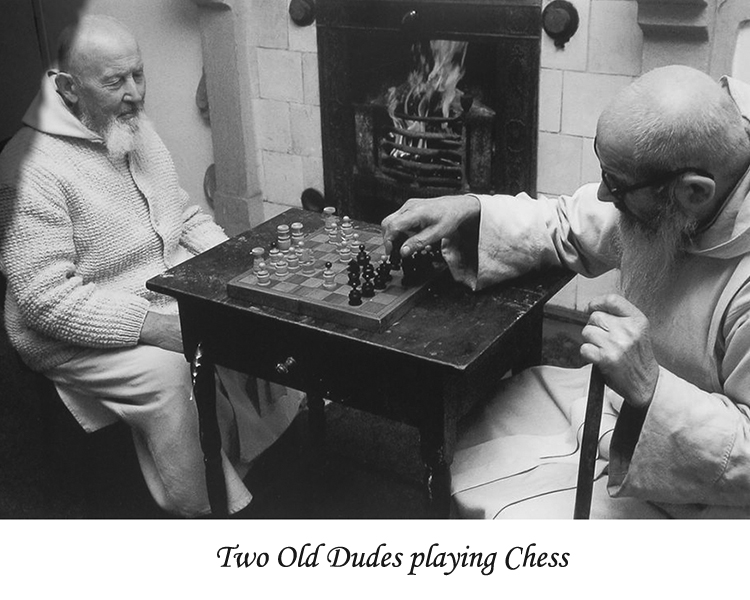 Two old dudes playing chess